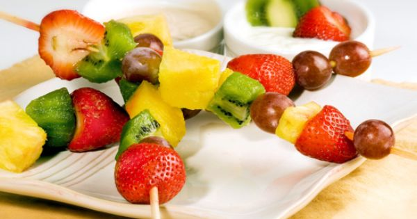 Fruit Kebabs with Coconut Yogurt Recipe by CHEF_MEG via @SparkPeople