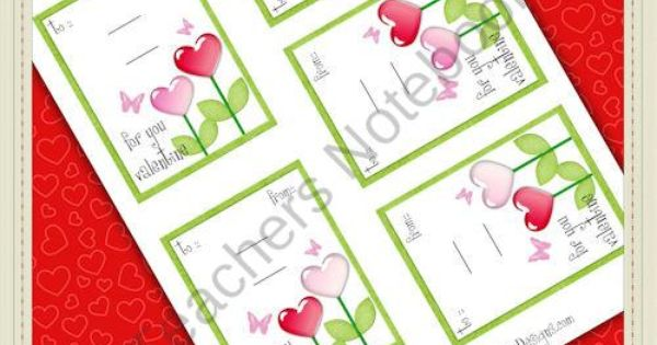 Heart Flowers 1 Printable Valentine Sucker Cards product ...