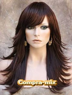Flip Dark Auburn Long Layered W Bangs Wig Jsfn 33 Long Hair Styles Hair Styles Long Layered Hair