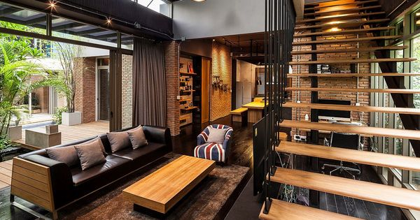 industrial and modern side by side two houses in bangkok style industriel parquet et industriel. Black Bedroom Furniture Sets. Home Design Ideas