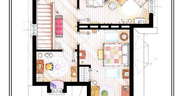 Amazing Art Floorplans of TV Shows and Movies From Up to Simpsons!
