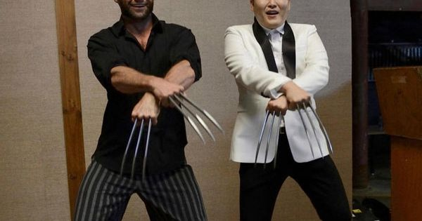 Hugh Jackman and PSY dancing Gangnam Style