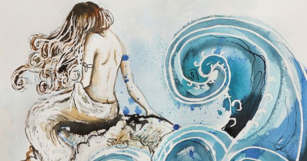 """Saatchi Art Artist: Sara Riches; Pen and Ink 2013 Drawing """"Cliodna's Wave"""""""