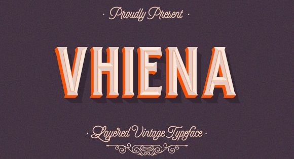 Vhiena Layered Type – vintage typeface inspired by the likes of old serifs and classic bottles of whiskey