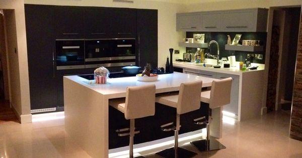 Linear modern hand painted kitchen design corian worktops for Kitchen ideas edinburgh