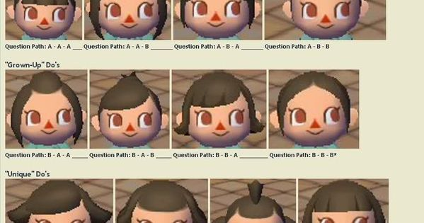 Hairstyle Guide Animal Crossing City Folk