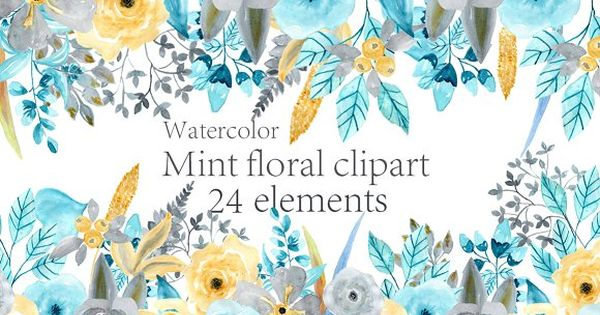 Watercolor Mint Floral clipart by chilipapers on @creativemarket