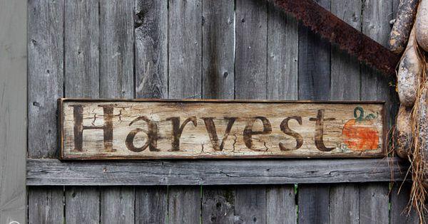Aged Primitive Harvest Wood Sign   Fall   Pinterest   Wood ...