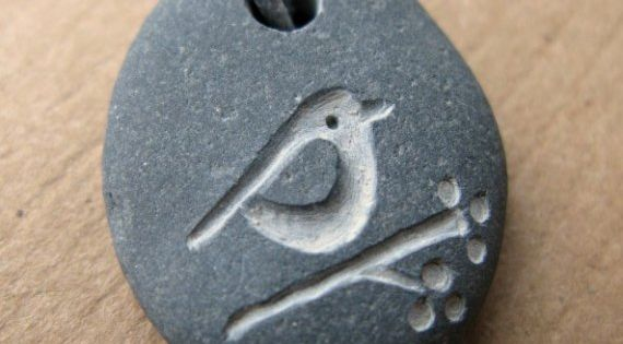 handmade carved stone pendants bird and berries beach pendant necklace