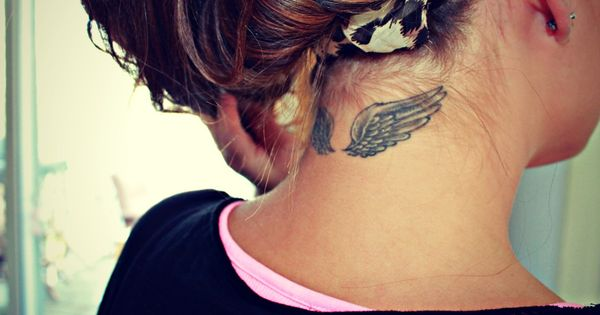 Wing tattoo- cool tattoo, different placement tho