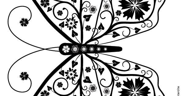 Coloriage pour adultes dessin repr sentant un papillon fleurs coloriages pour adultes - Activite manuelle adulte gratuite ...