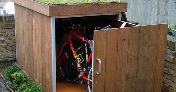 Here's a cool way to store your bikes! Put a sliding cabinet