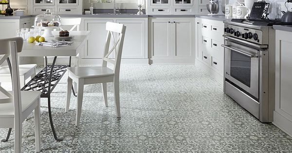 Luxury Vinyl Patterned Flooring In Kitchen Filigree Iron