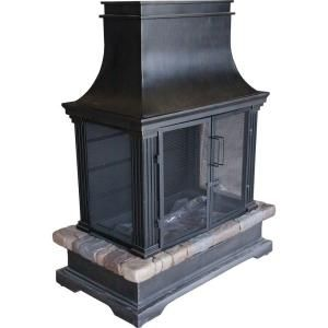 Hampton Bay Sevilla 36 In Steel And Slate Propane Gas Outdoor Fireplace 66595 The Home Depot Outdoor Wood Burning Fireplace Outdoor Fireplace Kits Outdoor Gas Fireplace