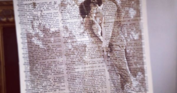 Print photos on old book pages. beautiful. Such a cool idea. (print