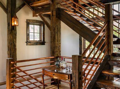 rustikale treppe im wohnbereich kupfergel nder und holztreppen kupfer holz im used look. Black Bedroom Furniture Sets. Home Design Ideas
