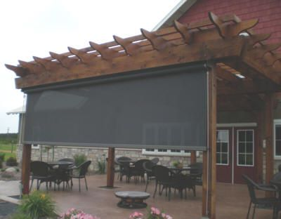 Pergola Designs With Roll Shades Exterior Retractable Solar Shades Mid Penn Awnings Central Pa Pergola Pergola Shade Pergola Screens