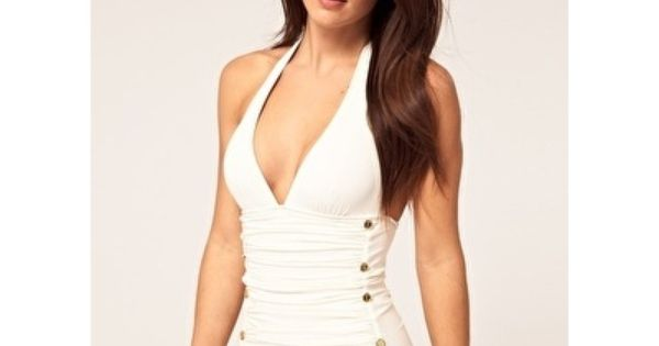 Solid Ruched Halter Swimsuit - juicy couture - ha I can't wear