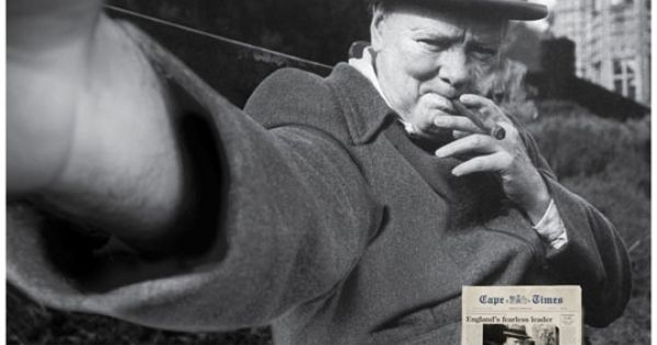 iconic famous photos turned into selfies self portraits winston churchill (1)
