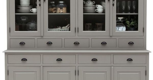 Landelijke buffetkast in grijs via goossens wonen niet teveel glas van boven veel laatjes en 4 - Eigentijdse boekenkasten ...
