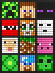 6 Of These Little Minecraft Squares Stitched On Plastic Canvas Would Make A Nice Little Minecraft Cube Minecraft Perler Minecraft Beads Minecraft Quilt