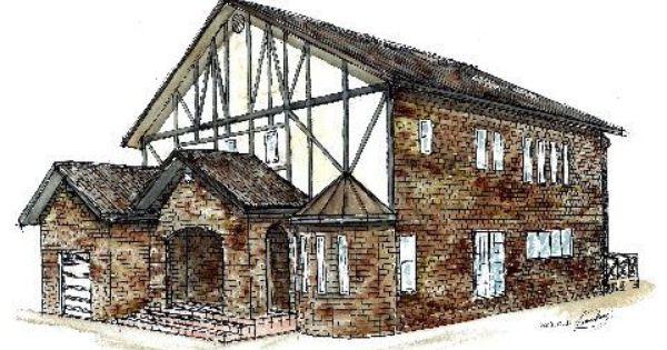 手書きパース 煉瓦の家 煉瓦 家 パース