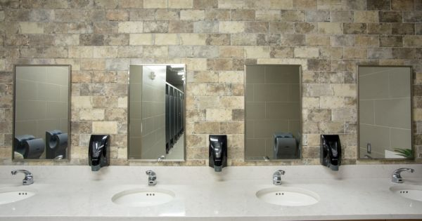 The First Academy Cramer Family Field House Trinity Surfaces Trinity Tile The First Academy House Lighted Bathroom Mirror