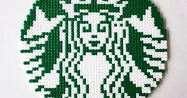 Starbucks logo perler beads by perler_art - Pattern: http://www.pinterest.com/pin/374291419001942555/