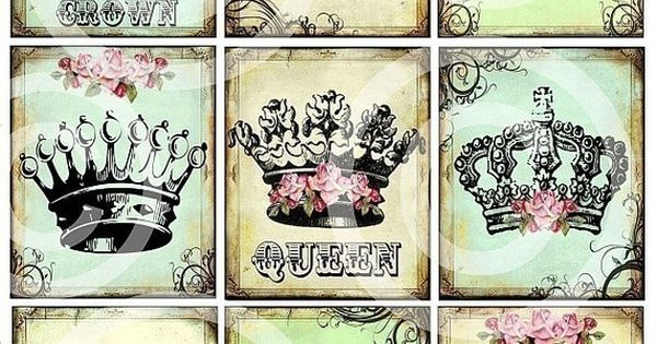 Regal Set Of 9 Royal Queen Princess Crowns Printable Art