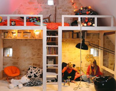Kids space | I like this loft's design. The bunk isn't just