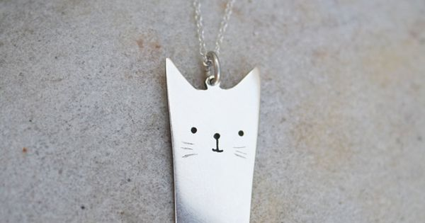 If I really liked cats: kitty pendant cat necklace sterling silver cat