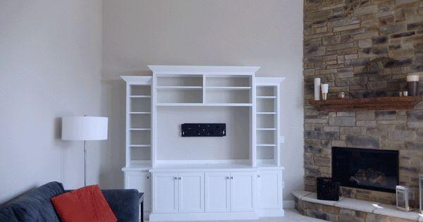white built-in entertainment center corner fireplace ...