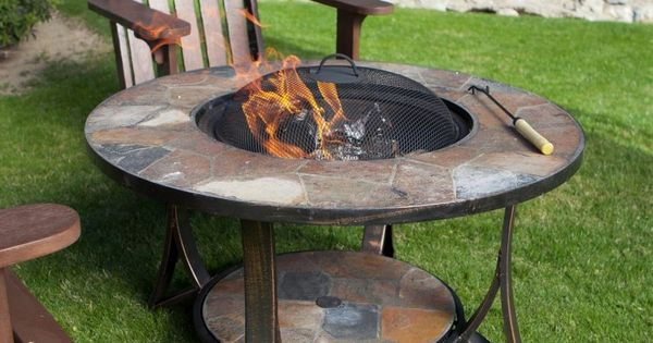 34 Quot Round Slate Wood Burning Fire Pit Table Grate Spark
