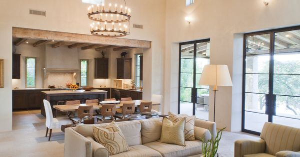 Great room: Open concept kitchen, living, dining room. Contemporary rustic. Pedernales ...