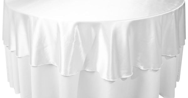 90 round satin in silver over 120 white poly satin for 120 round white table linens