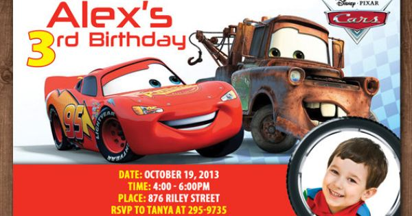 Personalized Disney Cars Lightning McQueen Tow Mater DIY Printable Photo Birthday Invitation - 4 ...