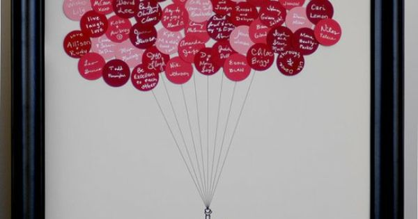 Wedding Guest Book Balloons- have everyone sign a circle sticker, then stick
