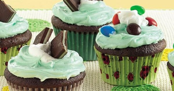 Rich devil's food cupcakes are topped with minty frosting and creme de