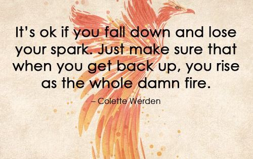 It's ok if you fall down and lose your spark. Just make sure that when you get back up, you rise as the whole damn fire. – Colette Werden Tags: strength Related Posts I am a strong woman No matter what life throws at her She's too busy for excuses Take a Hard Look at Yourself Sometimes strong women feel weak