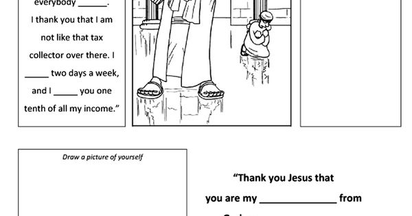 Growing kids in grace the pharisee and the tax collector for The pharisee and the tax collector coloring page