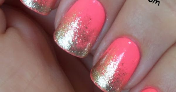 Coral and Gold glitter nails!