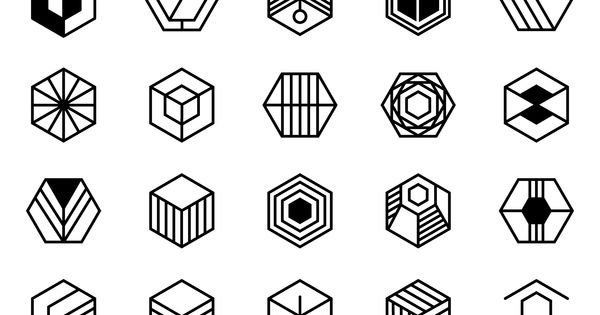 collection of hexagonal logos and badges  designs feature different geometric details and styles