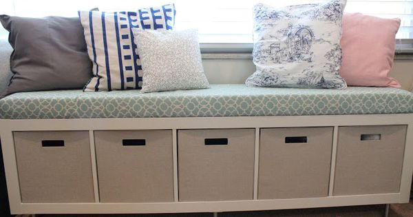 Mommy Vignettes: Ikea No-Sew Window Bench Tutorial Turning ikea bookcase into bench