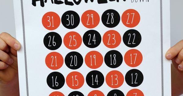Halloween countdown, Free printable and Halloween on Pinterest