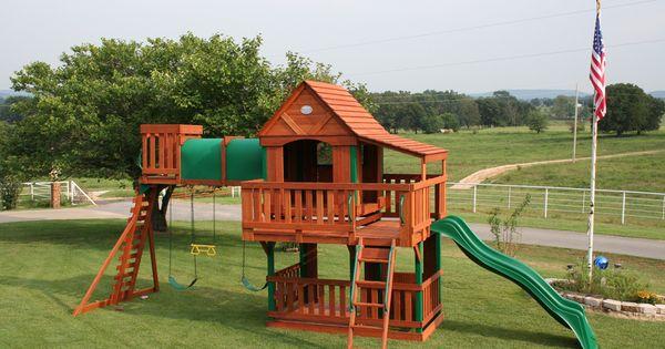 Treasure Trove Swing Set With Wood Roof Canopy Cedar