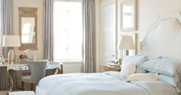 Soft Tones Elegant Traditional Master Bedroom White With Soft Blue Accents High Windows