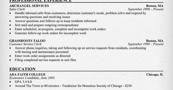 customer service  clerk resume  resumecompanion com