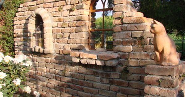 Grundstucksmauer Gartenmauer Ruinenmauer Toreinfahrt Reichsformat Ziegelsteine Klinker Backstein Rustikaler Ab Steinmauer Garten Gartenmauer Ruinenmauer