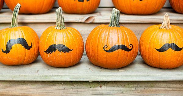 SOOOOO me :) Pumpkin mustache stickers, no carve jack o lantern, Halloween