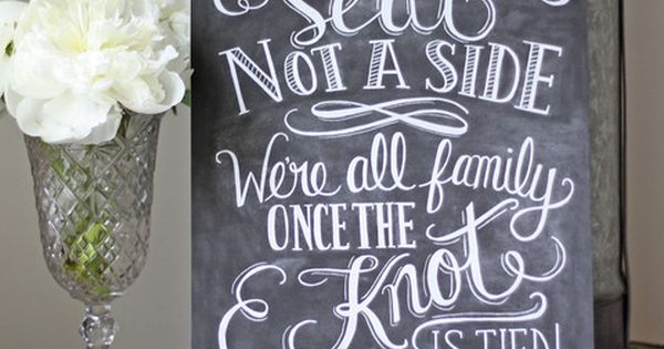 Choose A Seat Not A Side Wedding Ceremony Print – Chalkboard Style